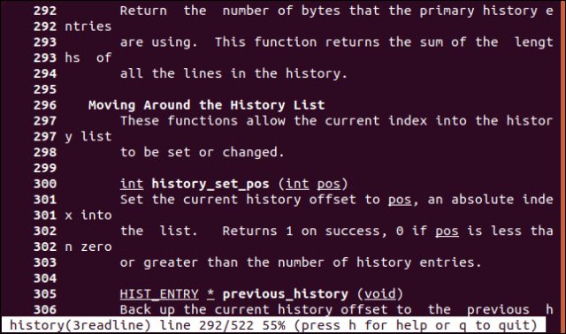 Line 292 at the top of the screen in a manual page in a terminal window.