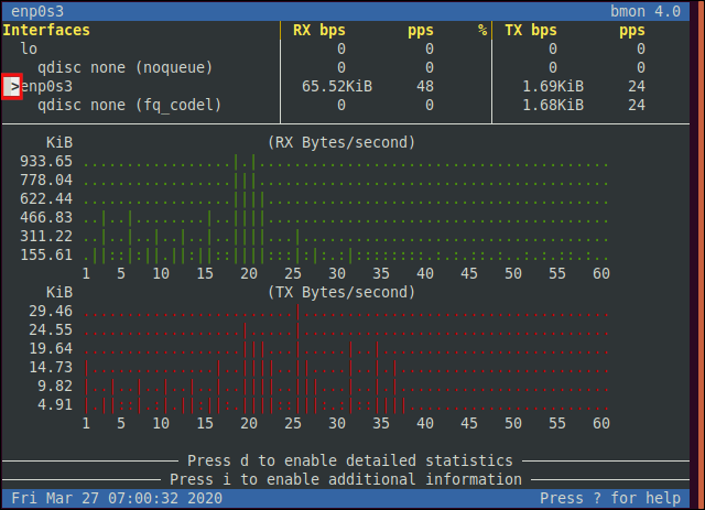 The Ethernet network adapter selected in the bmon interface in a terminal window.