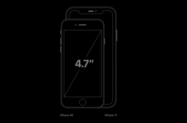 The new size comparison of the iPhone SE with the iPhone 11.