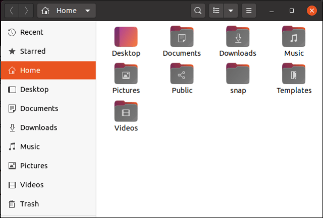 Ubuntu 20.04 file icons in the file browser showing the new color highlights