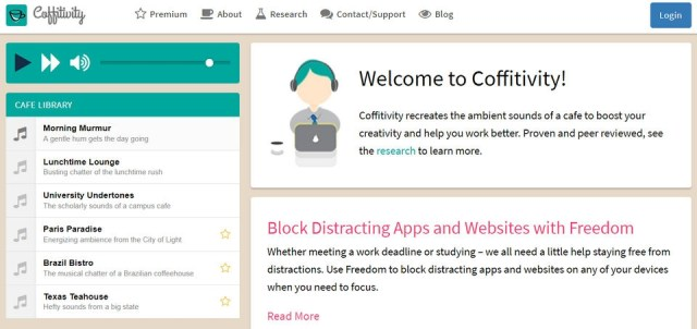 The Coffitivity home page, showing the ambient soundtracks and the interface.