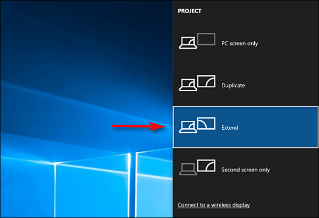 Select Extend in Windows 10