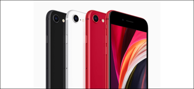 Four new iPhone SEs in black, white and two in red.