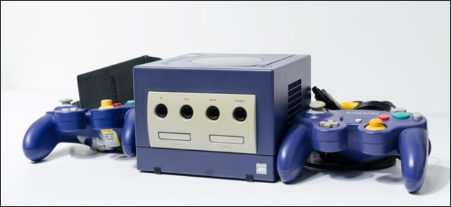A GameCube and controllers.