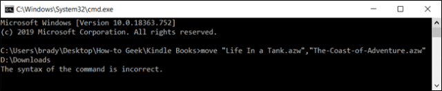 Using a comma to move multiple files does not work and the command prompt generates an error.