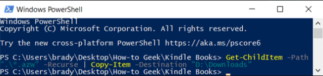 After typing the command, PowerShell searches all of the subfolders for copies of everything in the specified file extension.