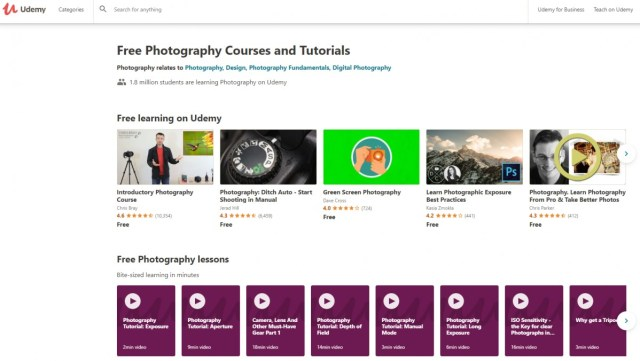 Udemy digital photography course