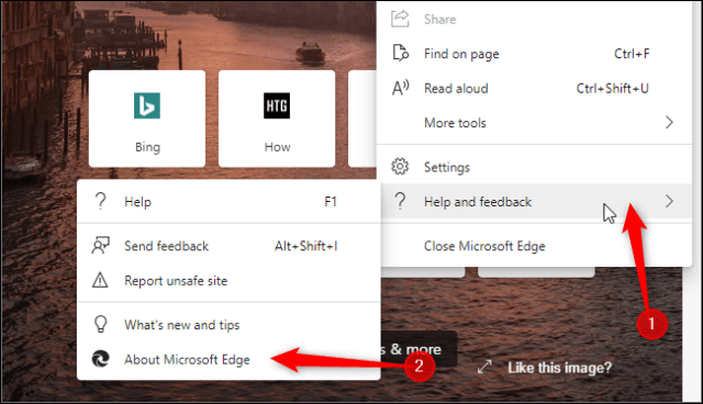 Launch the About Edge page, where you can update the browser.