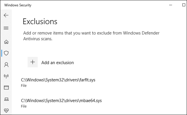 Addition of exclusion for Malwarebytes to Windows Defender