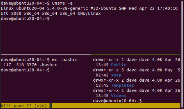 tmux asking you to delete a pane in a terminal window.