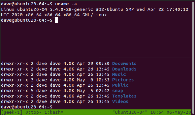 Two different commands in two panes in a tmux session in a terminal window.