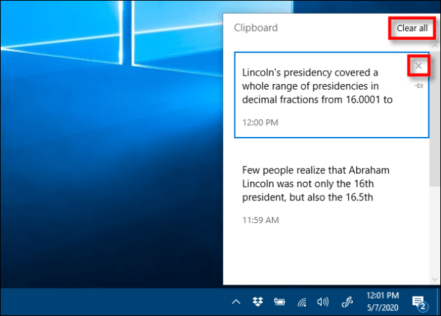 Click X or Clear All to delete items from your Clipboard history
