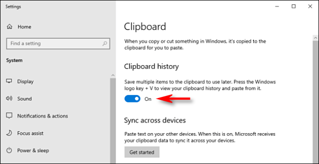 Click the clipboard history switch in Windows 10 system settings