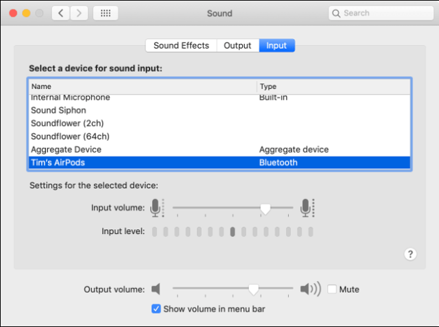 MacOS audio input preferences