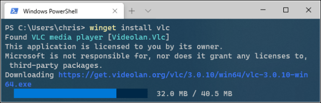 Installing VLC with Windows Package Manager