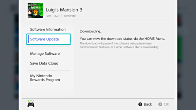 A message in the Options game showing the download of the update on Nintendo Switch