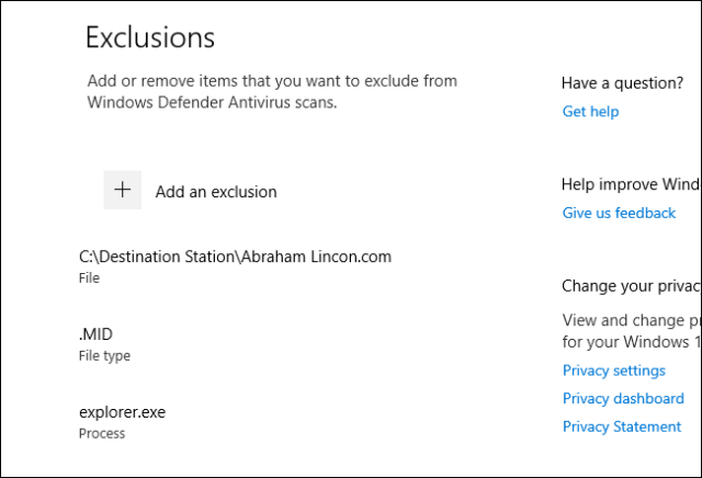 A list of Windows Defender scan exclusions in Windows 10