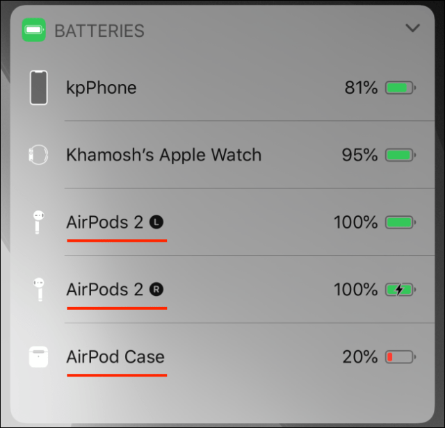 Batteries Widget showing the AirPods battery on iPhone