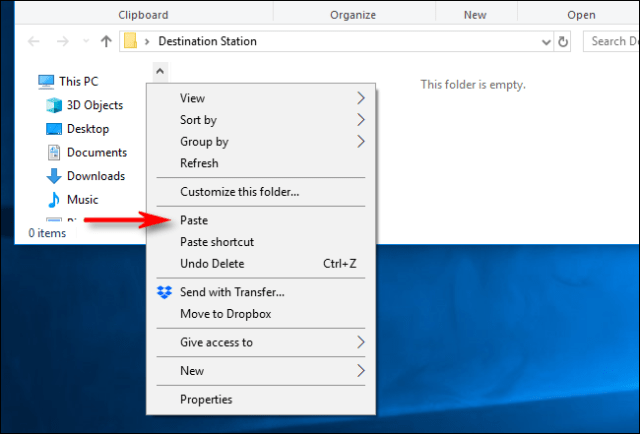 Select Paste from the Right Click menu