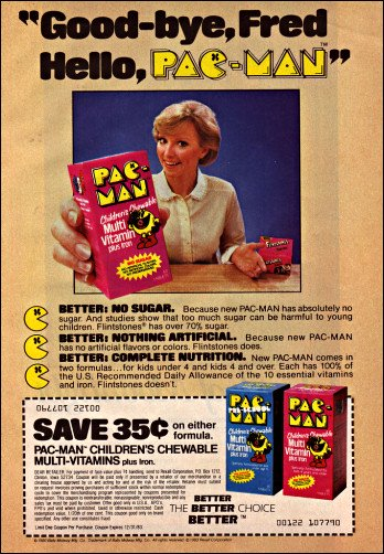 An advertisement for Pac-Man children's multi-vitamin chewable iron.