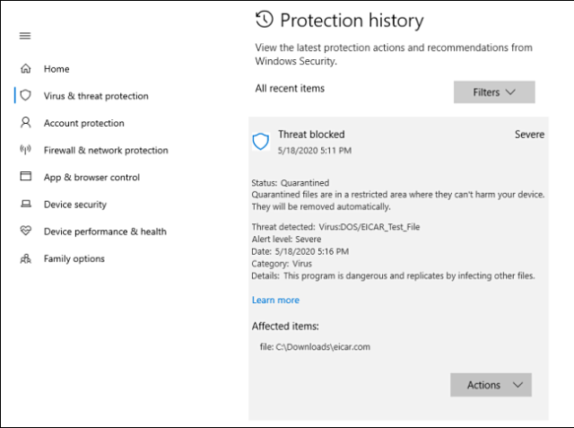 A detailed view of a threat in the protection history on Windows 10