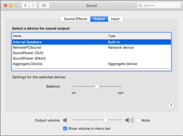 MacOS audio output preferences
