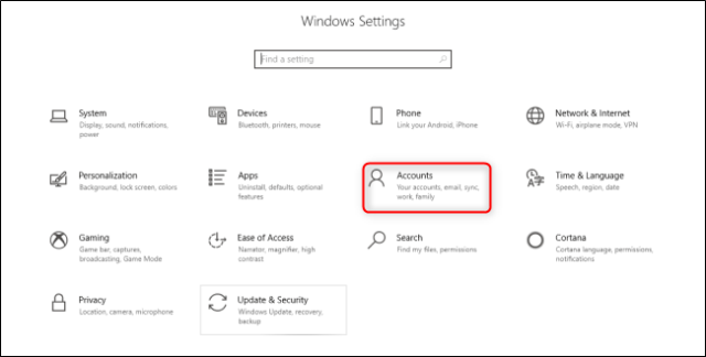 Windows 10 settings accounts