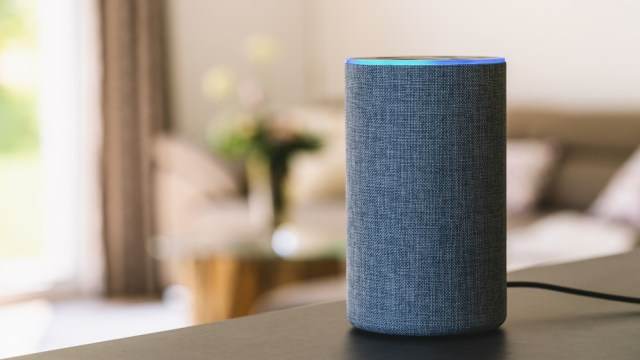 A photo of the Amazon Echo smart speaker on a table.