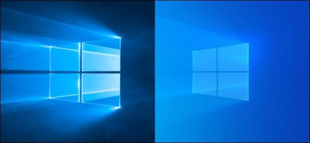 Windows 10 old and new default wallpapers.