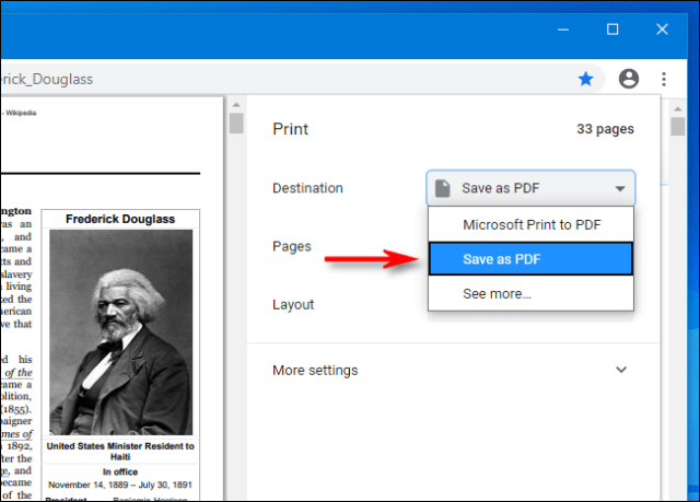 Select Save as PDF from the Google Chrome drop-down menu