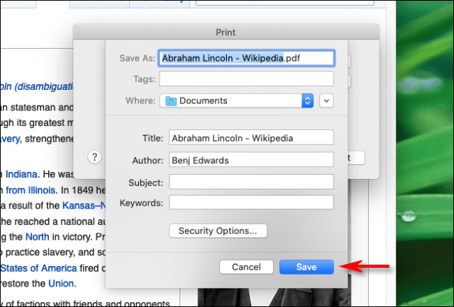 Type the name of the file and click Save to Firefox on Mac