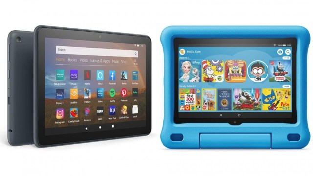 A photo of the Fire HD 8 Plus and the Fire HD 8 Kids Edition.