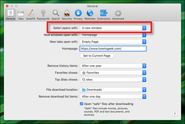 Find Safari opens with in Preferences on Mac