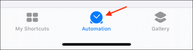 Tap the Automation tab in the shortcuts