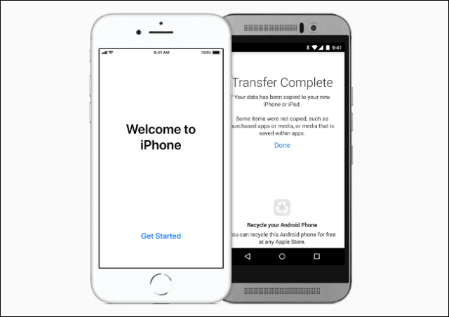 Data from an Android phone is transferred to an iPhone.