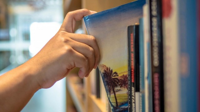 Someone pulling a travel book from a shelf.