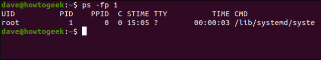 ps -fp 1 in a terminal window.