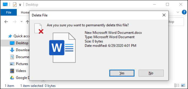 The confirmation prompt when deleting a file with Shift + Delete.