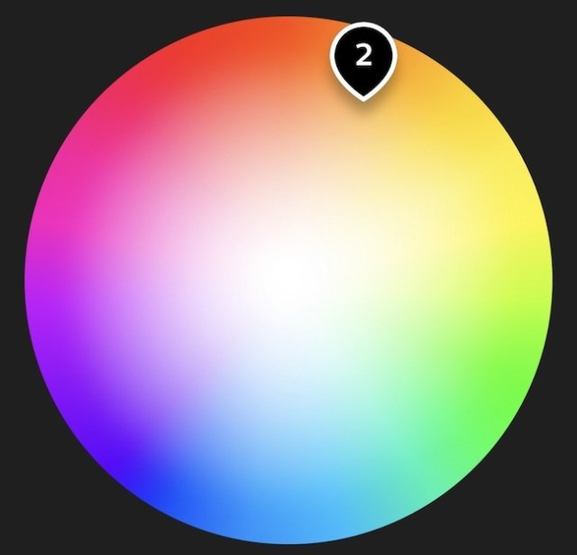 The color wheel of the Philips Hue app.