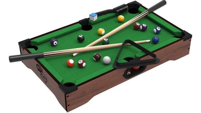 Mini desktop billiards game complete with cue sticks, balls, chalk and triangle stand