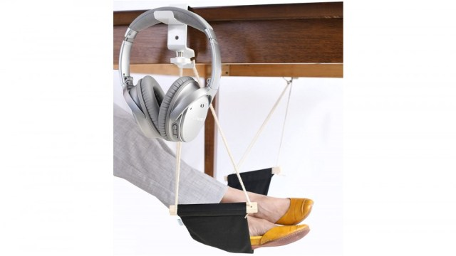 Deskool Foot Hammock attaches to most desks to provide a comfortable lift for your feet
