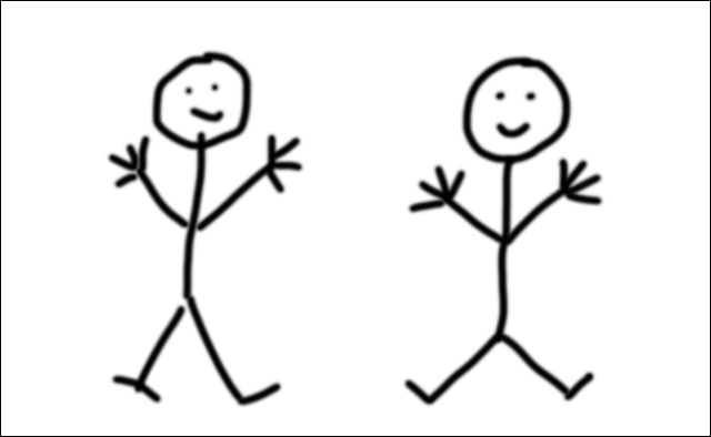 A stickman drawn with the trackpad of a Mac and another drawn with a Wacom tablet.