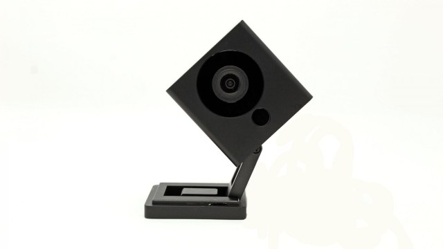 A Black Wyze camera tilted to the side.