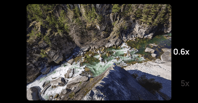 Wide shot of river in canyon.