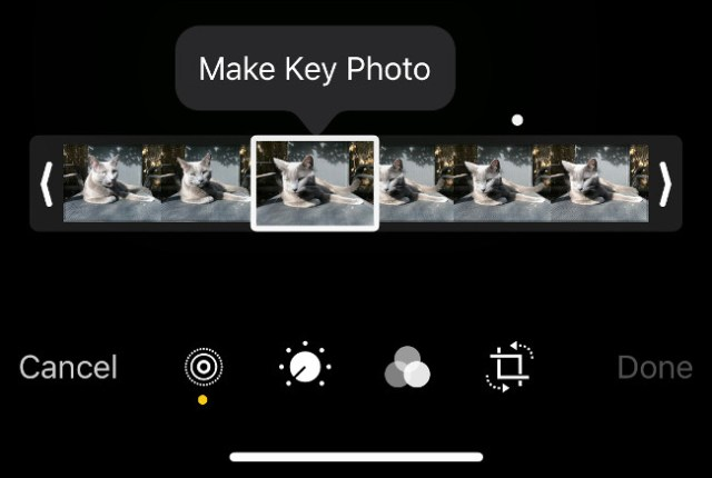 Create a new key photo from Live Photo in the iOS Photos app