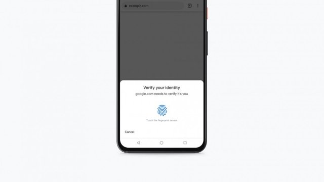 An Android phone requesting fingerprint authentication.