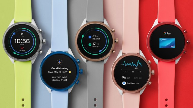 Fossil Wear OS watches in several colors.