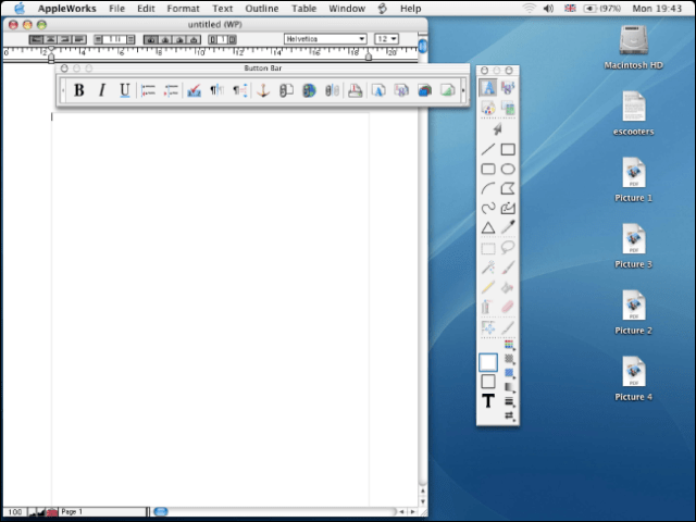 AppleWorks 6.0 running on an old Mac desktop.