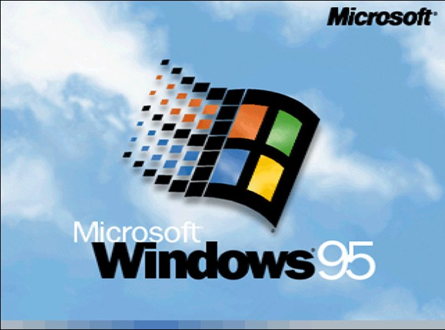The Microsoft Windows 95 logo at startup.