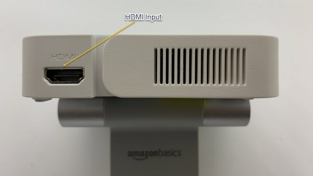 Image showing the HDMI input on the left side of the projector.